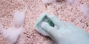 mão com luva passando esponja com sabão no carpete para tirar mancha